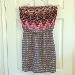 Aztec Print Tube top dress with pockets